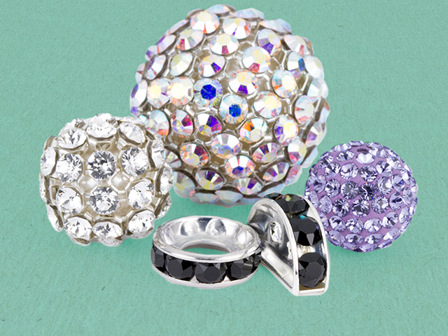 Swarovski Crystals Pave Balls and Rhinestone Spacer Beads